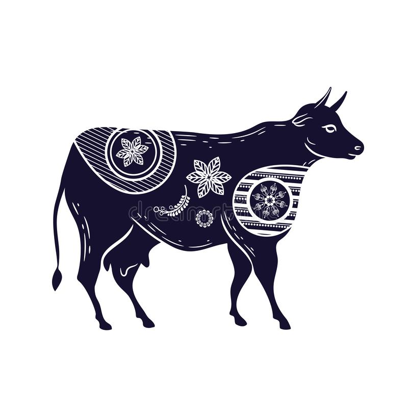 Cow with a flower pattern. Vector image. Horned cattle stock illustration