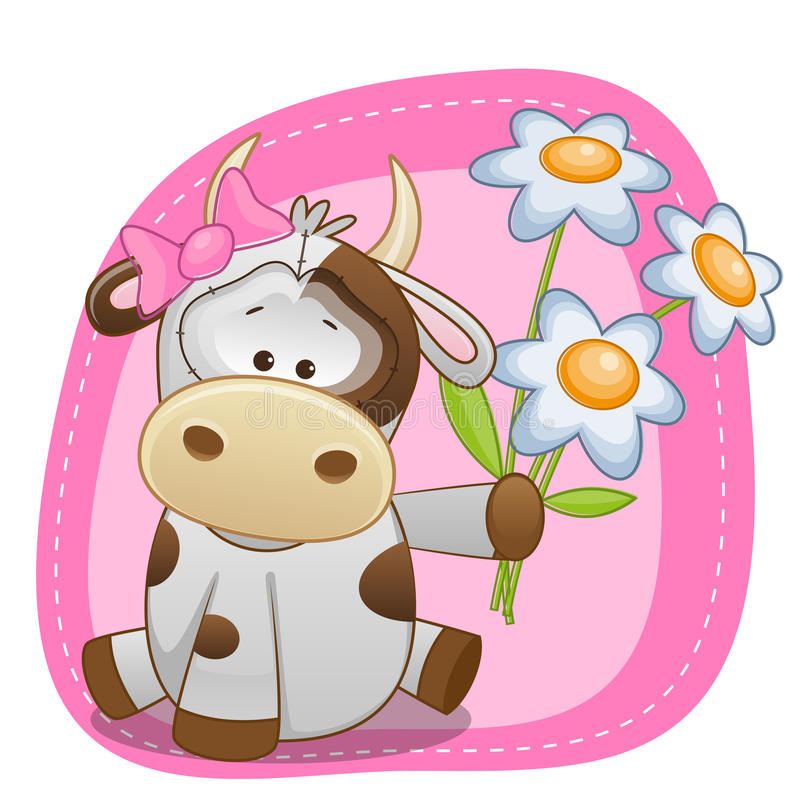 Cow with flowers stock illustration