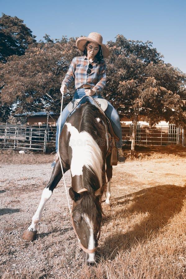 Cow-girl assez asiatique de femme montant un cheval dehors dans une ferme photos stock