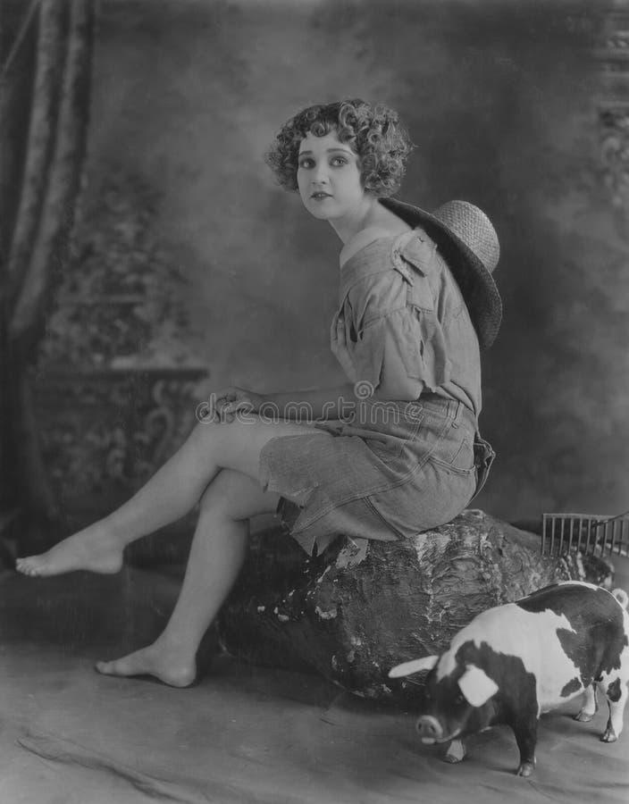 Cow-girl aux pieds nus image libre de droits