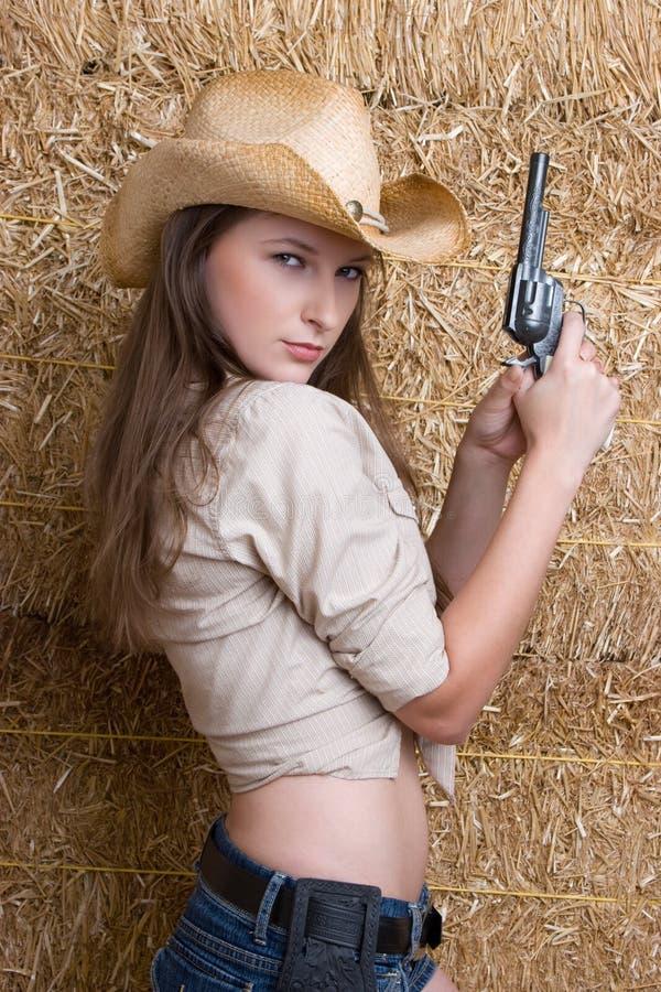 Cow-girl avec le canon photos libres de droits