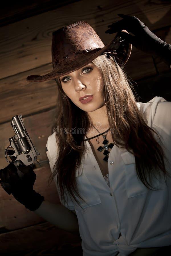 Cow-girl avec le revolver image libre de droits