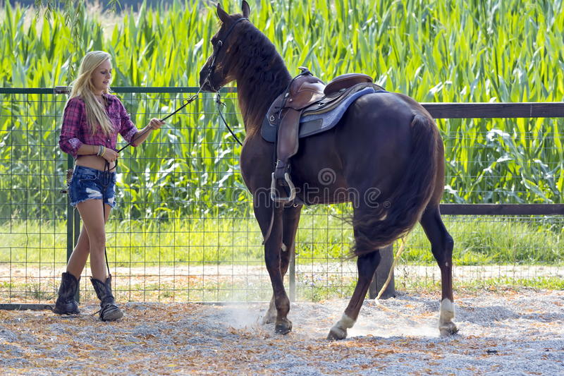 Cow-girl blonde images stock