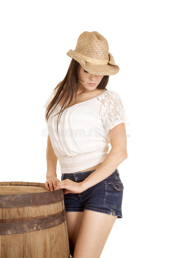Cow-girl de brune par regard de baril vers le bas photo stock