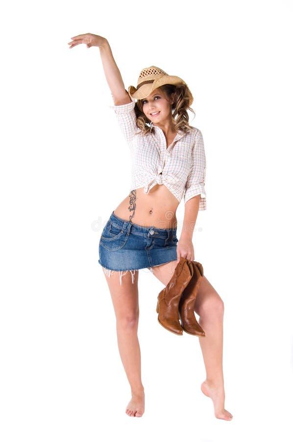 Cow-girl heureuse de danse image stock