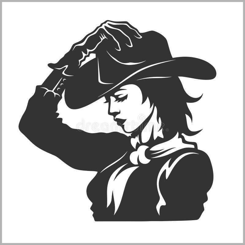 Cow-girl mignonne 2 - rétro clipart (images graphiques) illustration de vecteur
