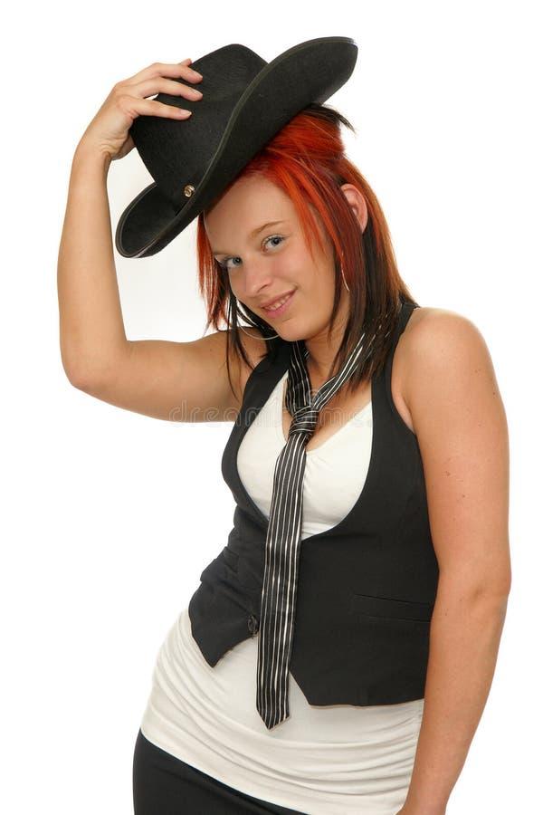 Cow-girl rouge de cheveu photos libres de droits