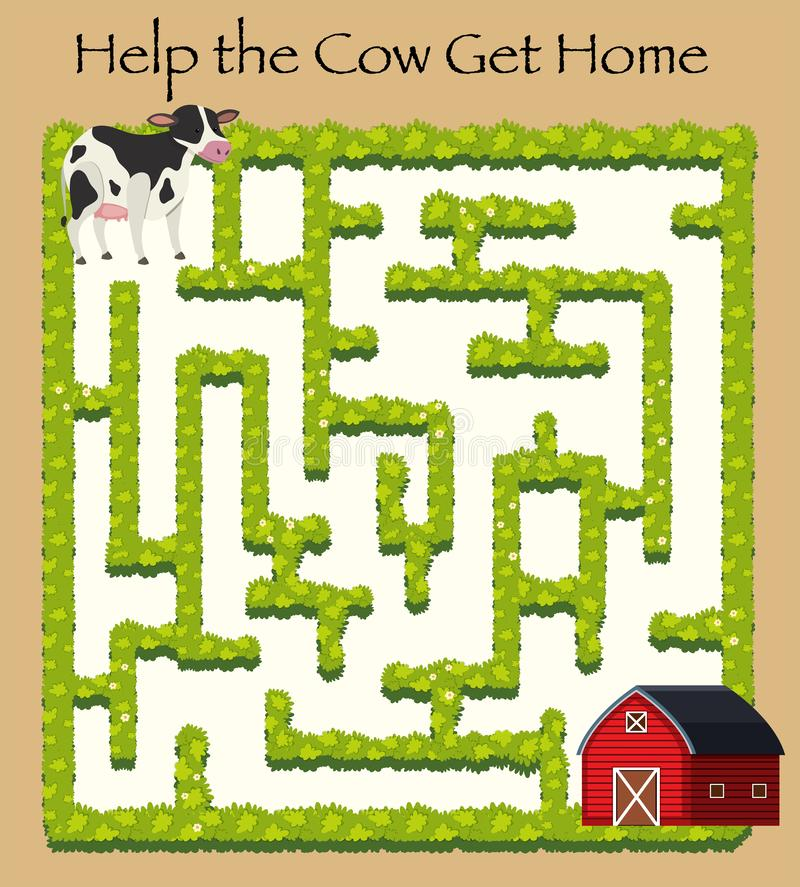Cow going home maze game royalty free illustration