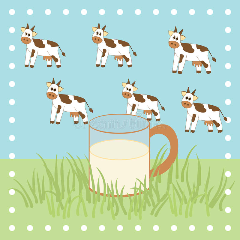 Cow, grass and milk in the glass. Cows, grass and milk in the glass royalty free illustration