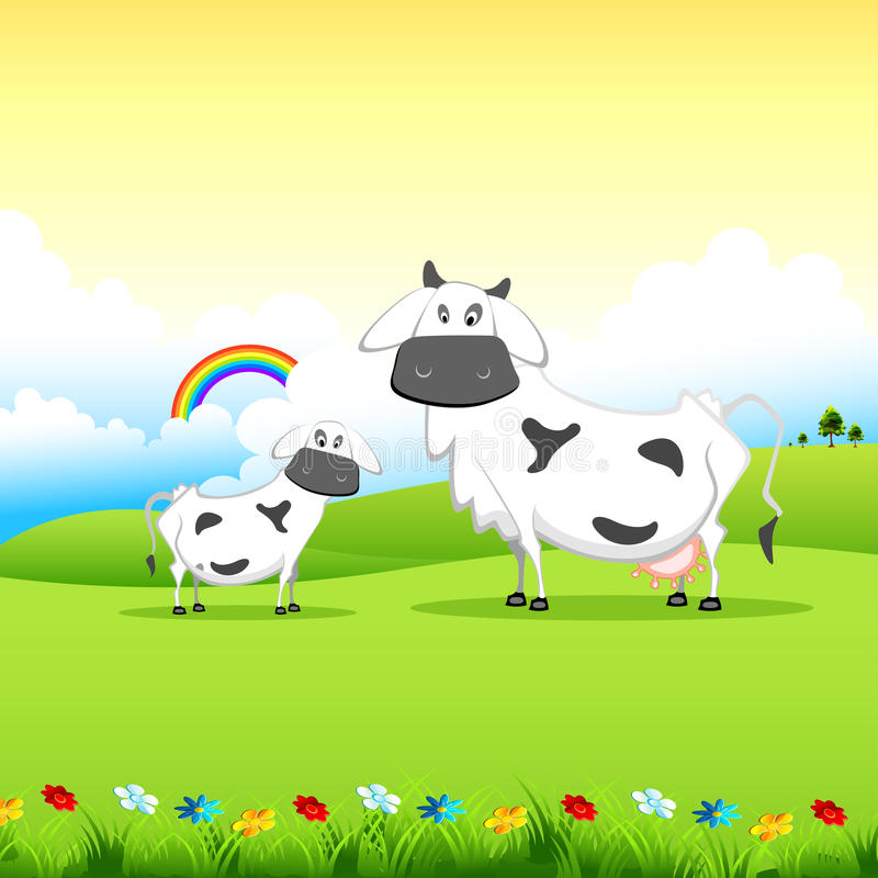 Download Cow grazing in field stock vector. Image of milk, countryside - 22804732