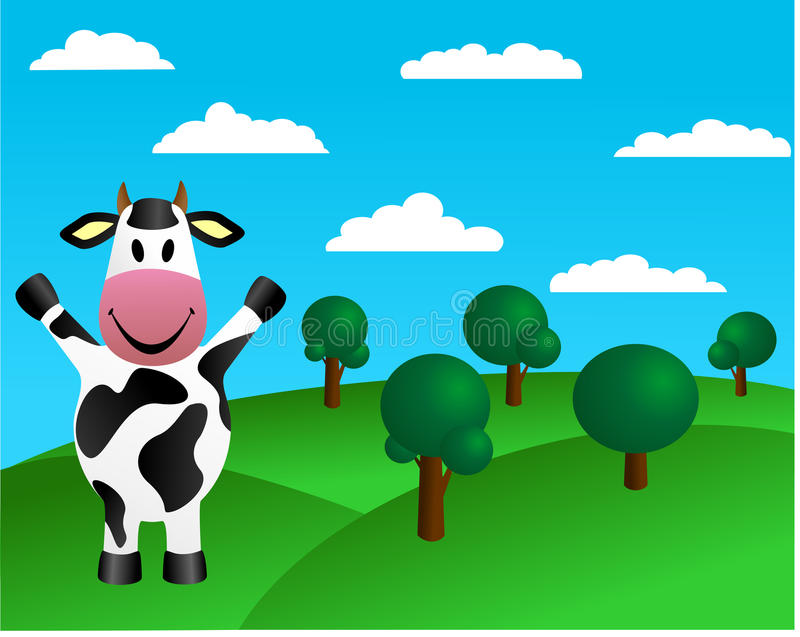 Cow and green hills with trees. Vector illustration representing a farm background with a cow, green hills an trees stock illustration