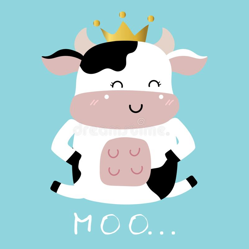Cow hand drawn cute card with crown stock illustration