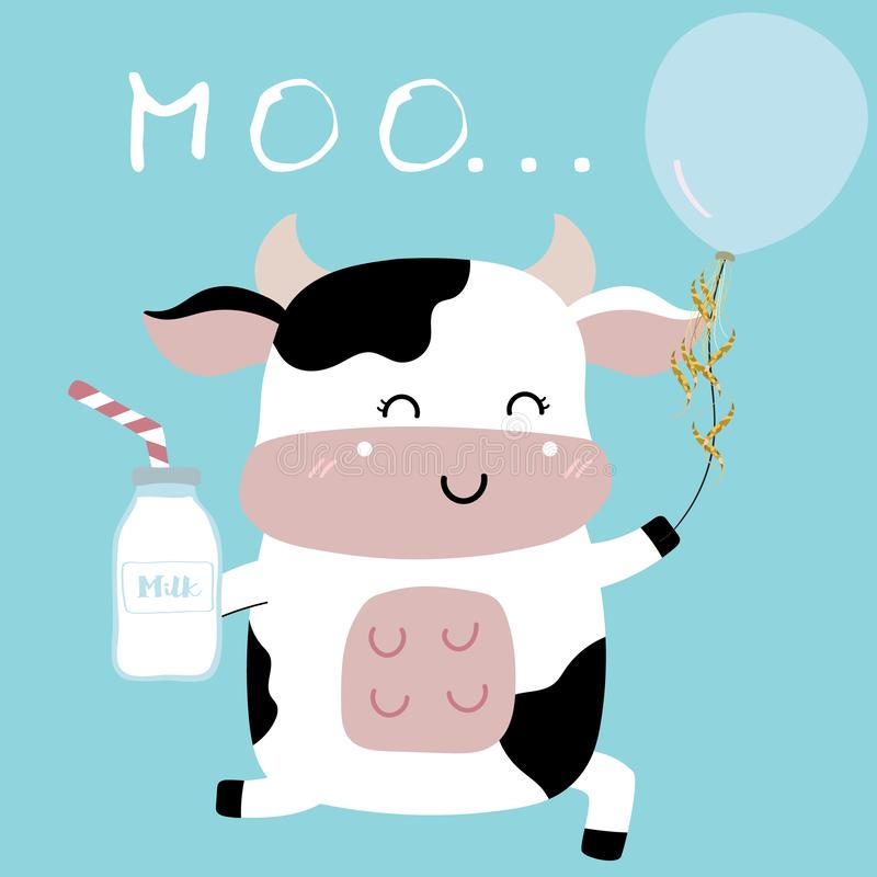 Cow hand drawn cute card with milk,balloon stock illustration
