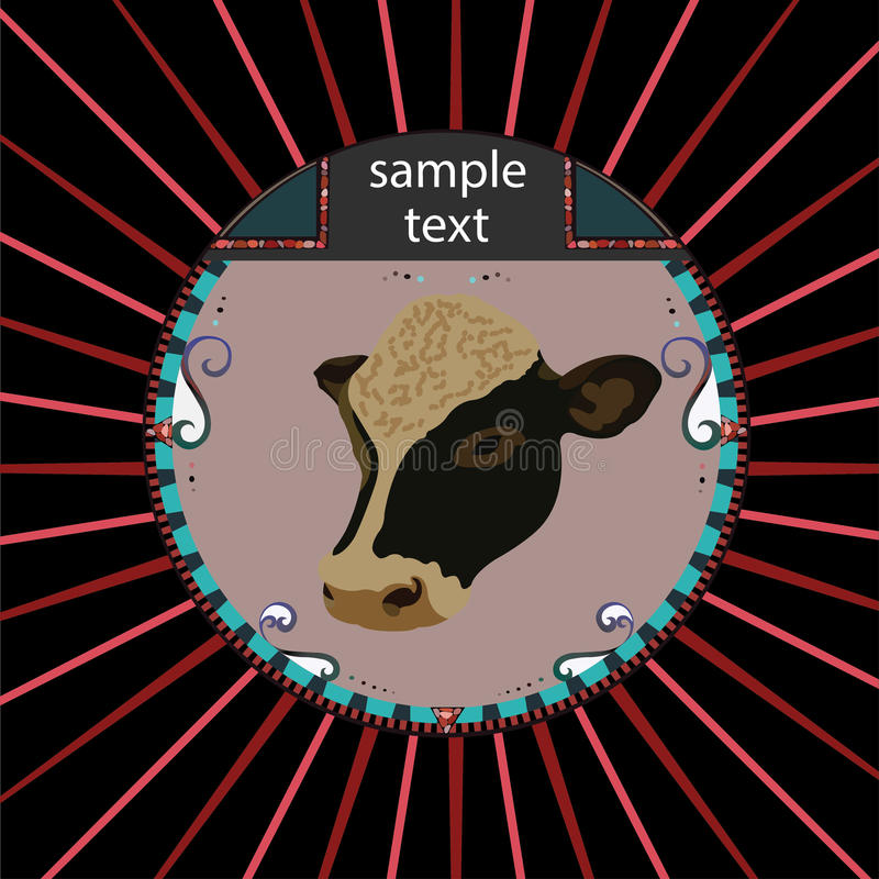 Cow head. Abstract cow head in circle stock illustration