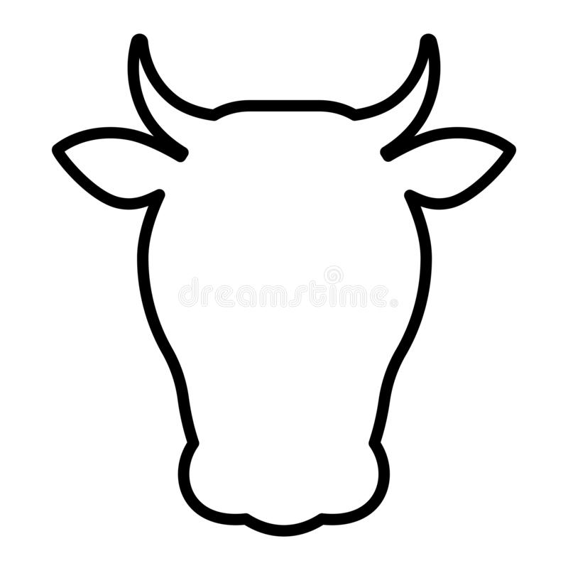 Cow head outline icon. Clipart image isolated on white background royalty free illustration