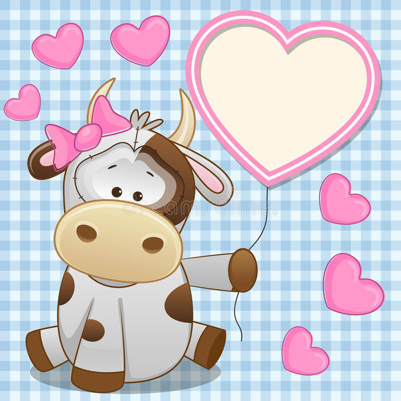 Cow with heart frame royalty free illustration
