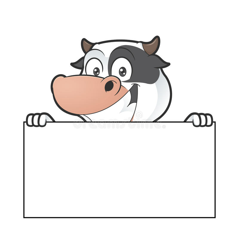 Cow holding blank sign. Clipart picture of a cow cartoon character holding blank sign vector illustration