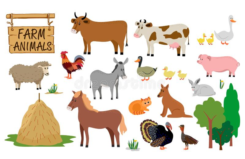 Cow, horse, goat, rooster, pig, dog, cat, rabbit are animals of the farm royalty free illustration
