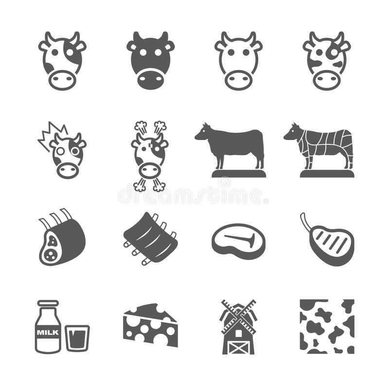 Cow icon set. /16 vector for design stock illustration