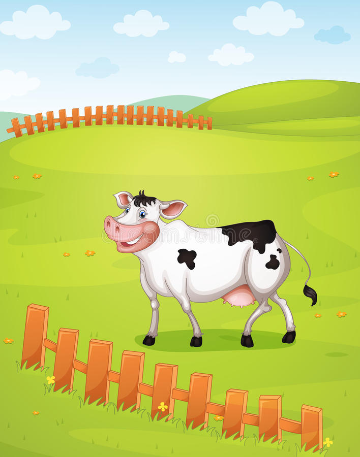 Download A cow stock illustration. Illustration of blue, domestic - 33690355