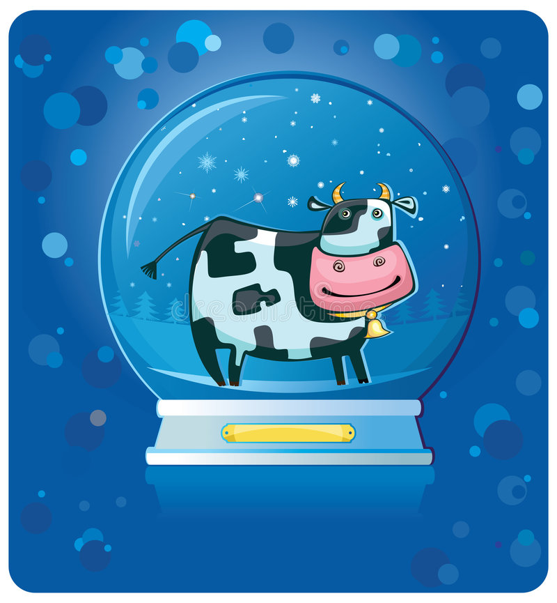 Free Cow Inside Of The Snow-dome. Royalty Free Stock Image - 7279466