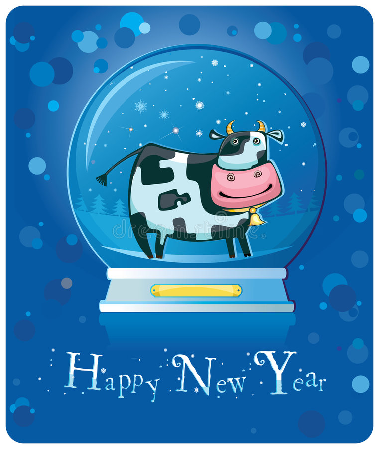 Free Cow Inside Of The Snow-dome. Royalty Free Stock Image - 7279486