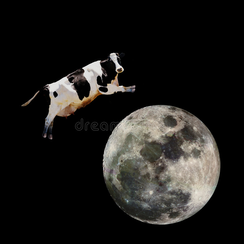 Download Cow Jumping over Moon stock photo. Image of outer, holstein - 4104692