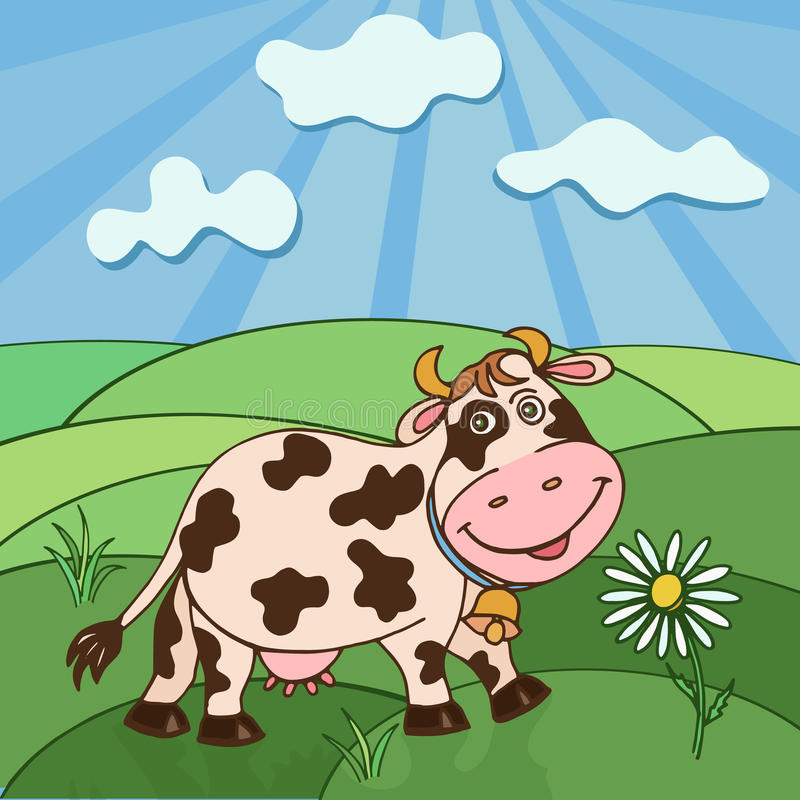 Cow and lawn. Landscape and cute cow. Colorful vector illustration vector illustration