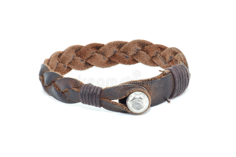 Leather Bracelet. Cow leather bracelet with clasp braided stock photo