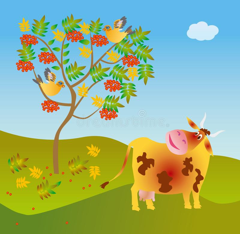 Download A cow looks at a wild ash stock illustration. Illustration of leaves - 8291004