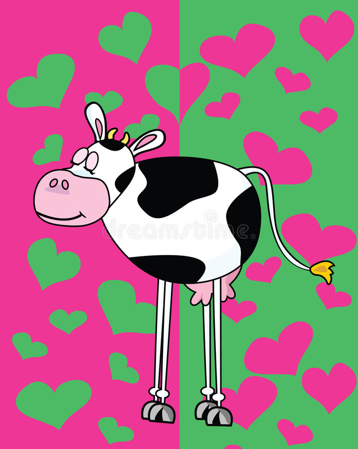 Cow in love. Vector illustration of cow on green and pink background vector illustration