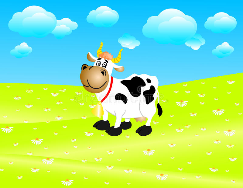Download Cow on a meadow stock vector. Image of meadow, horns - 19753831