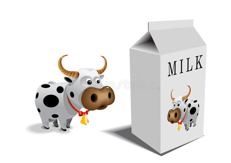 Cow and milk box royalty free illustration
