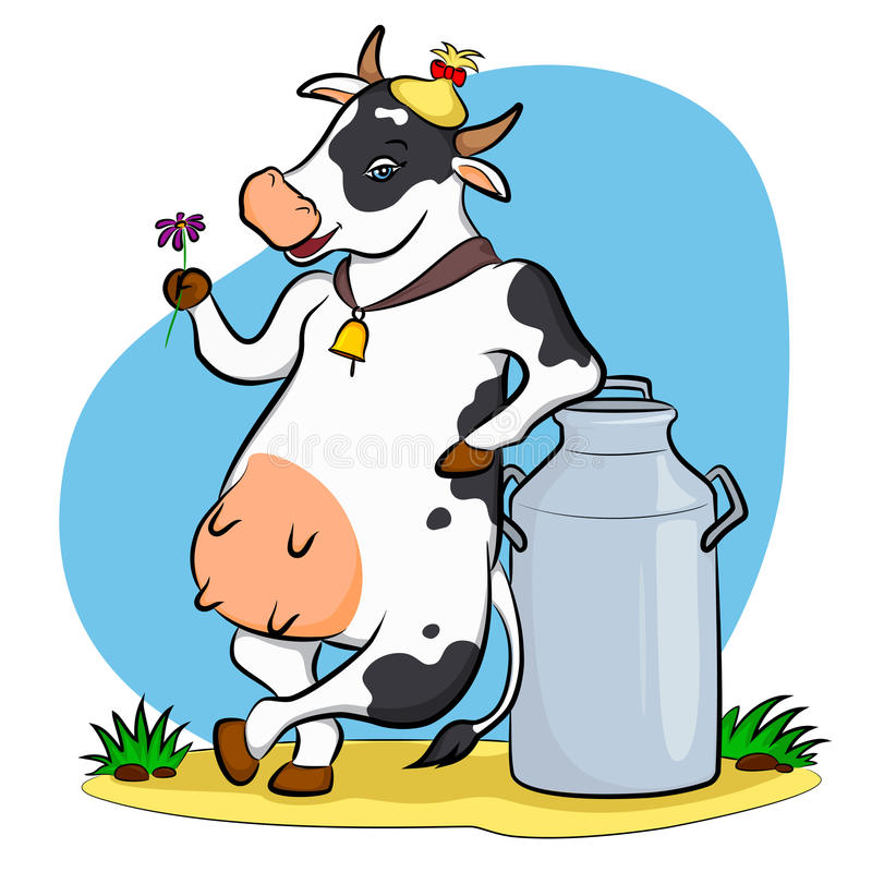 Cow with milk can stock illustration