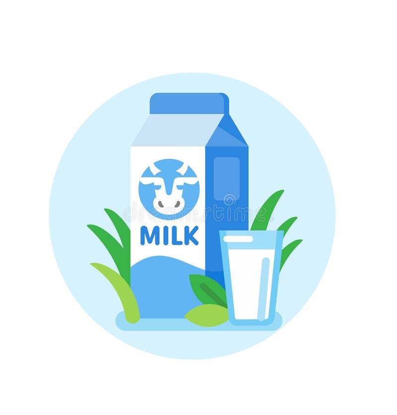 Cow milk carton vector illustration