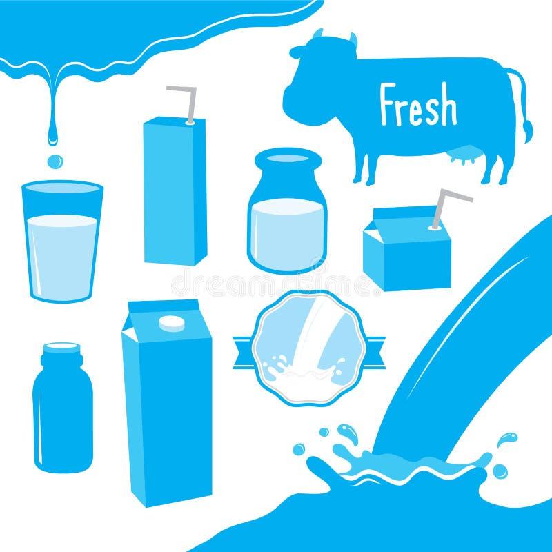 Cow Milk Packaging Blue Icon Cartoon Vector Design stock illustration