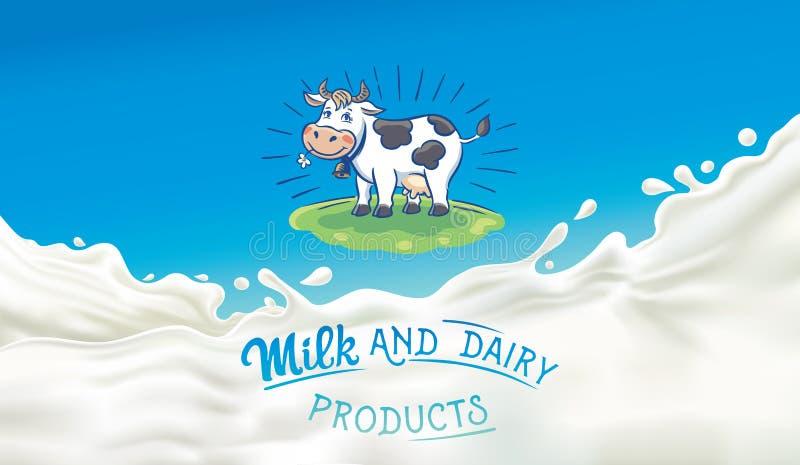 Cow in cartoon style and splash milk royalty free illustration