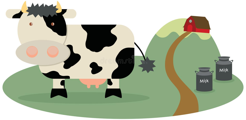 Download Cow at Milkfarm stock illustration. Illustration of hill - 11652799