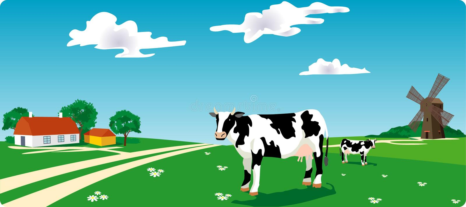 Download Cow & mill stock vector. Image of food, field, beauty - 14764501