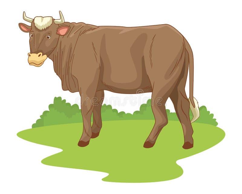 Cow in nature scenery cartoon. Vector illustration graphic design stock illustration