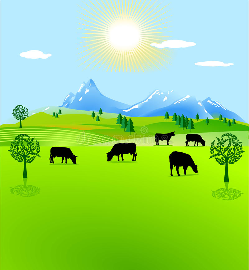Download Cow Paddock Mountain Pasture Stock Vector - Image: 15663271