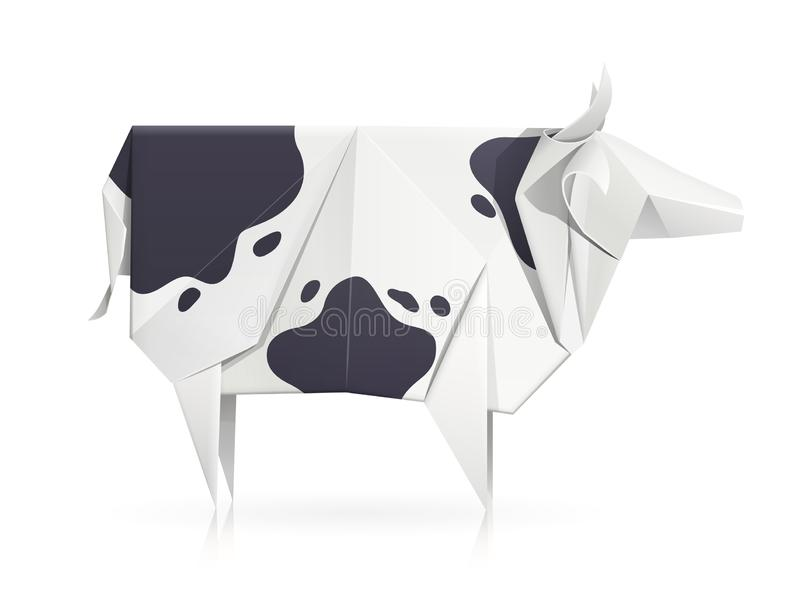 Cow. Paper origami toy. Handmade product. Cow. Paper origami toy. Handmade bull. Handicraft art. animal. Isolated white background. EPS10 vector illustration royalty free illustration