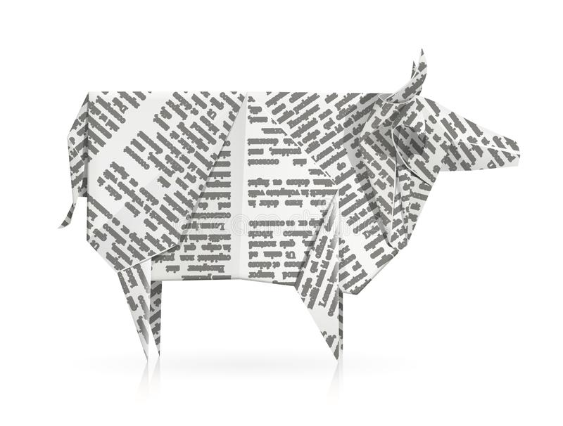 Cow. Paper origami toy. Handmade product. Cow. Paper origami toy. Handmade bull. Handicraft art. animal. Isolated white background. EPS10 vector illustration vector illustration