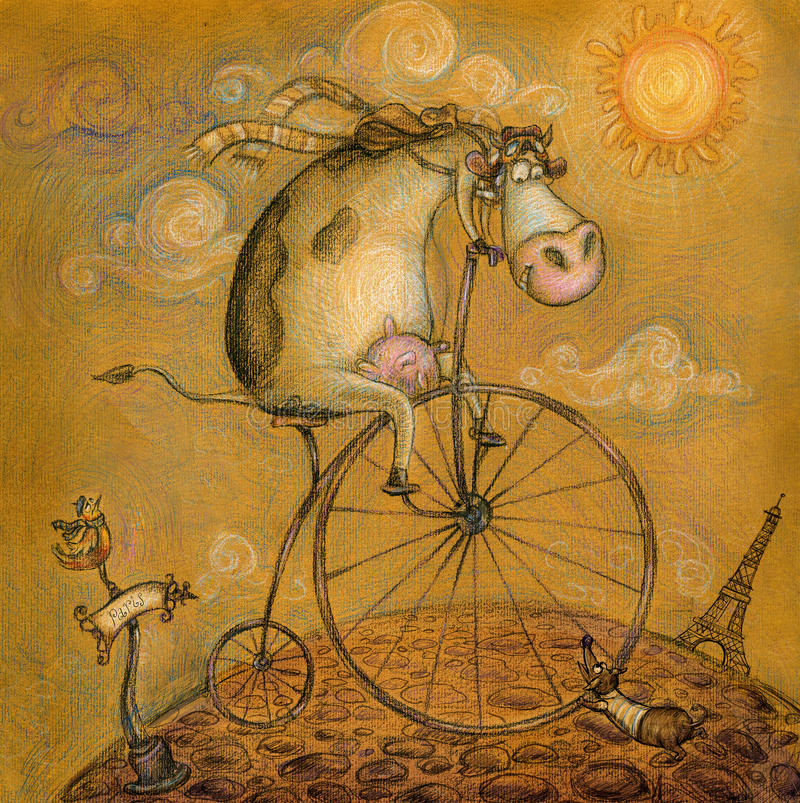 Cute cow on the bicycle.Vintage background.Childre stock illustration