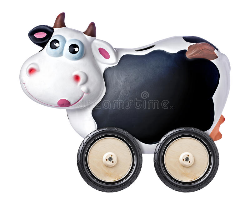 Cow Piggybank Blackboard Copyspace Wheel Isolated stock photography
