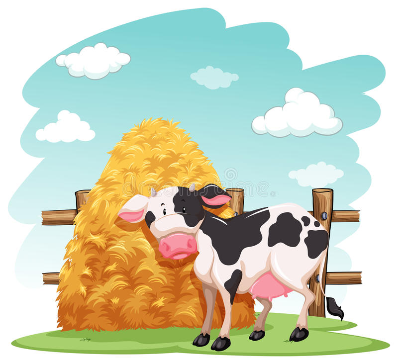 Cow and a pile of haystack. Near the wooden fence on a white background stock illustration
