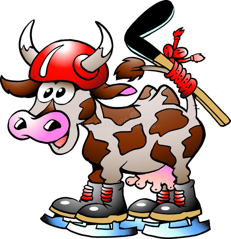 Cow Playing Hockey Sport. Handdrawn vector illustration of an Cow