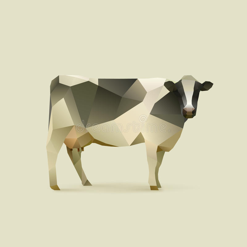 Cow. Polygonal illustration of cow, isolated stock illustration