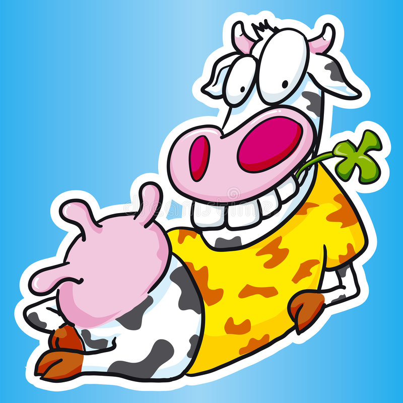 Cow relaxing vector illustration