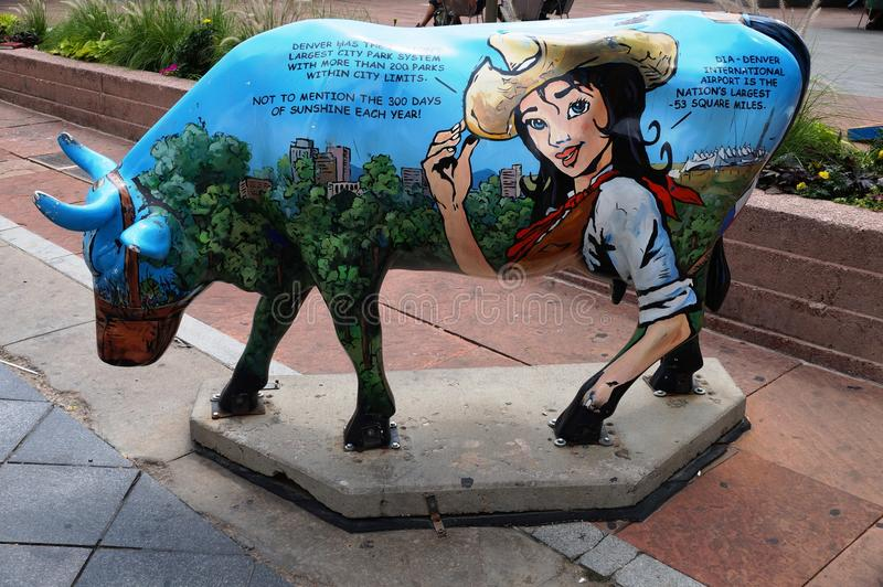 Cow sculpture in Denver, Colorado, nicknamed the Mile-High City. DENVER, CO -19 AUGUST 2013- Cow sculpture in Denver, nicknamed the Mile High City because of its stock images